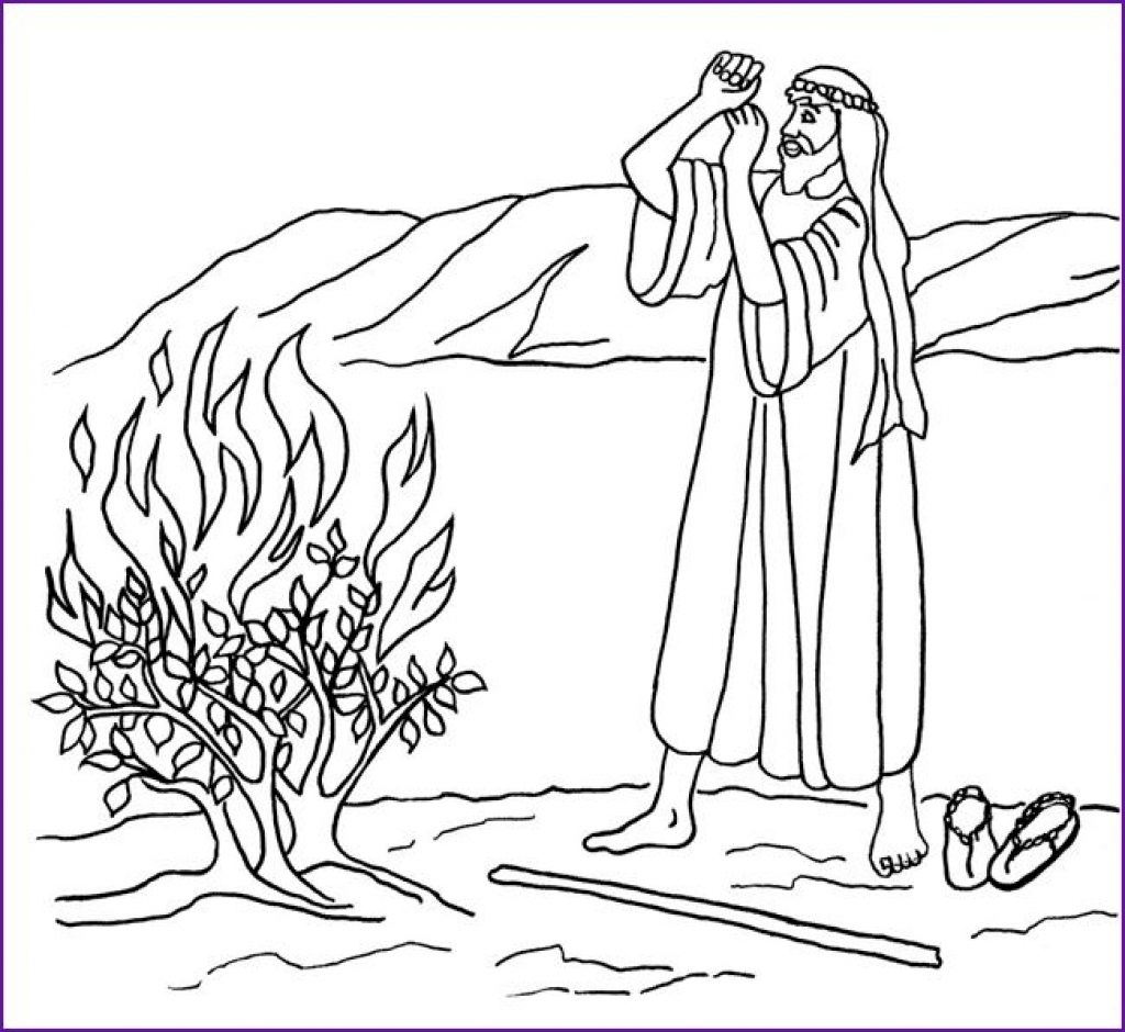 1024x940 Moses And The Burning Bush Coloring Page Gites Loire Valley