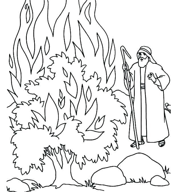 600x673 Moses And The Red Sea Coloring Page Burning Bush Coloring Page