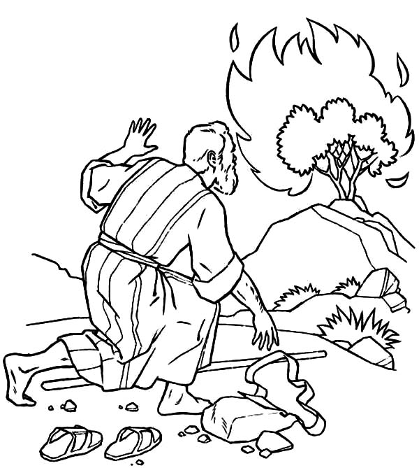 600x669 Moses Listen To God Through Burning Bush Coloring Pages