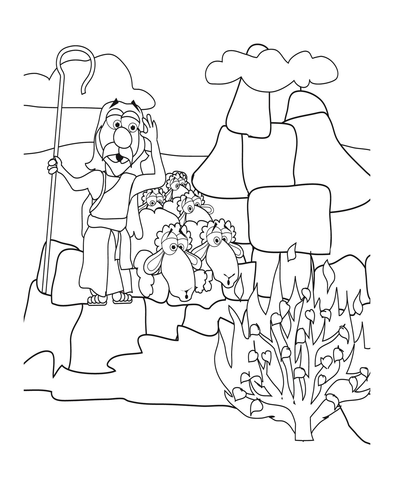 1309x1600 New Moses And The Burning Bush Coloring Page N Unknown Fine