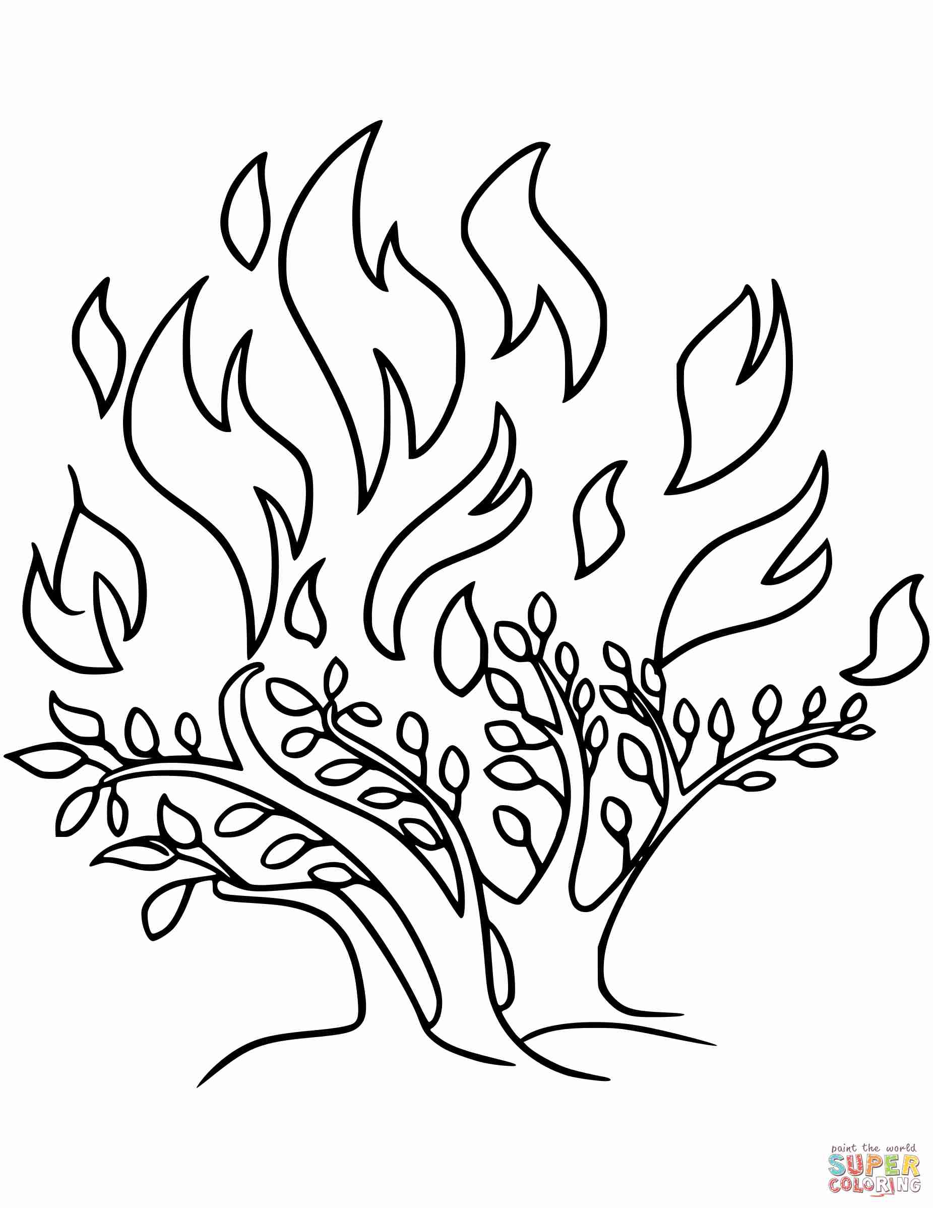 1851x2396 The Burning Bush Coloring Page Free Printable Pages Exceptional