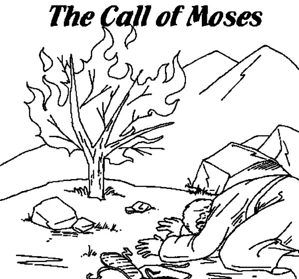 600x561 The Call Of Moses Burning Bush Moses Coloring Pages