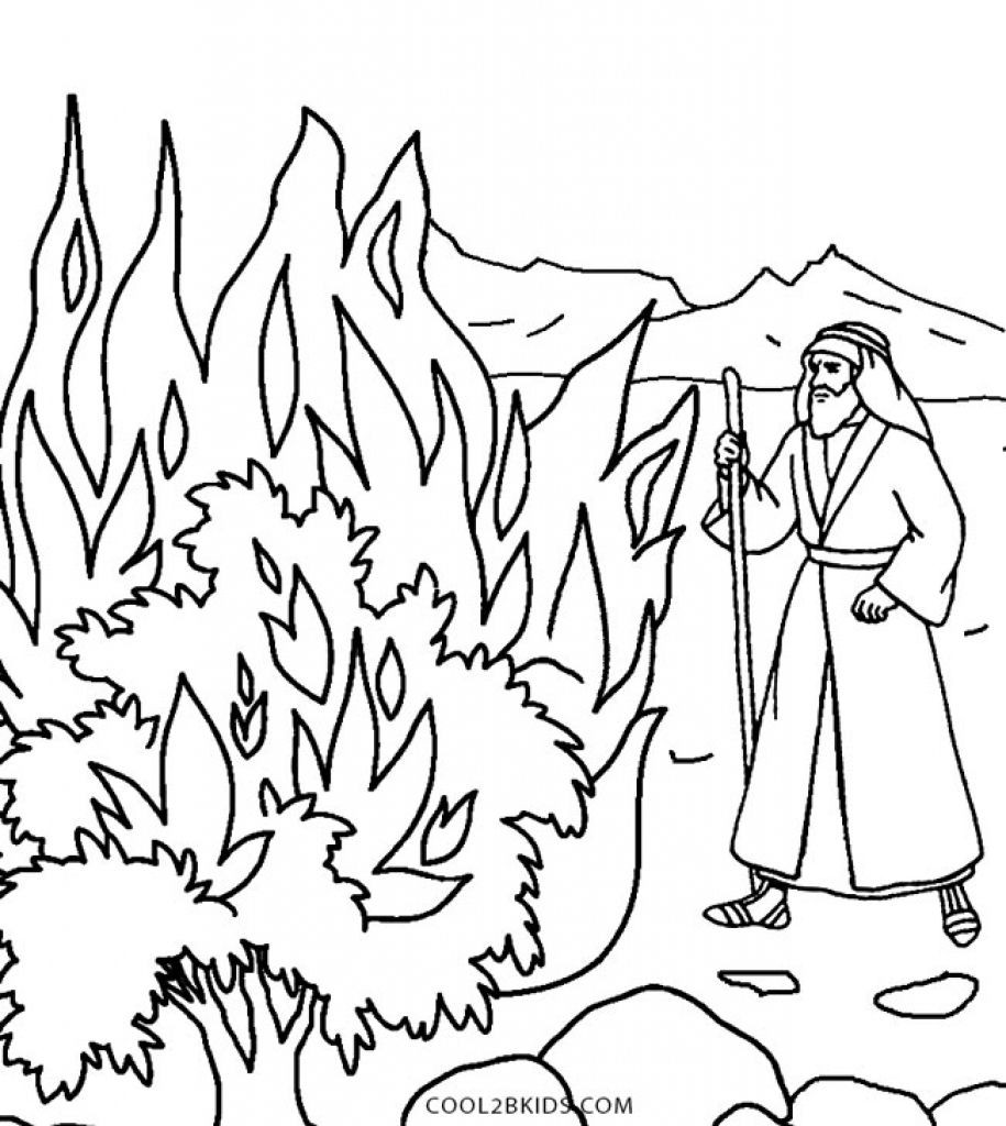 915x1024 Unconditional Moses And The Burning Bush Coloring Page Pages