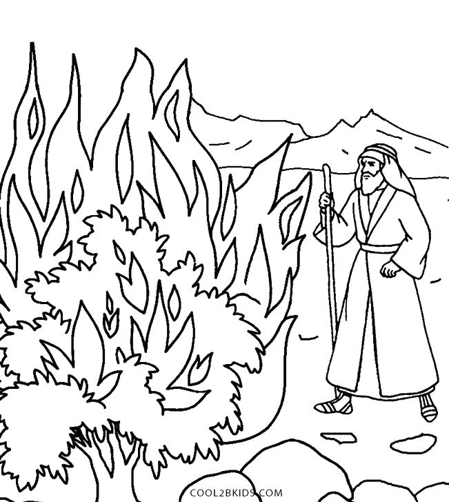 651x728 Burning Bush Coloring Page And The Burning Bush Coloring Pages