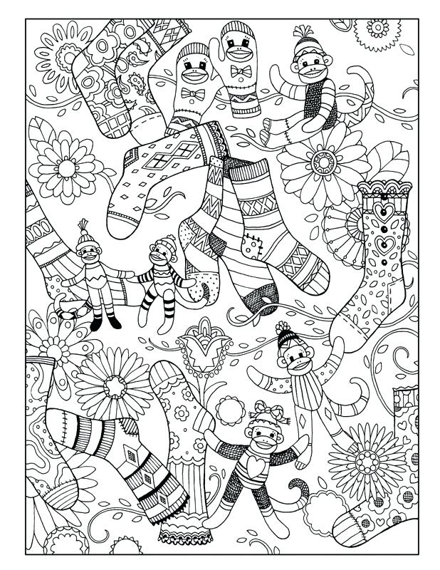 618x800 Sock Monkey Coloring Book Whimsical Sock Monkey Business Coloring