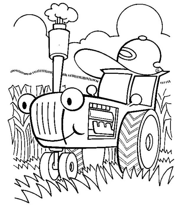 600x703 Tractor Is Busy Coloring Page
