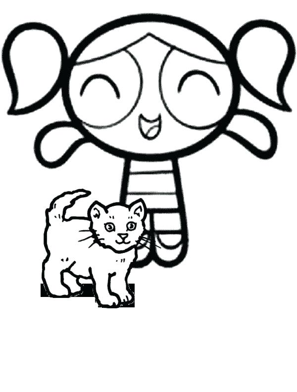 600x792 Powerpuff Coloring Pages Bubbles And A Little Cat In The Girls