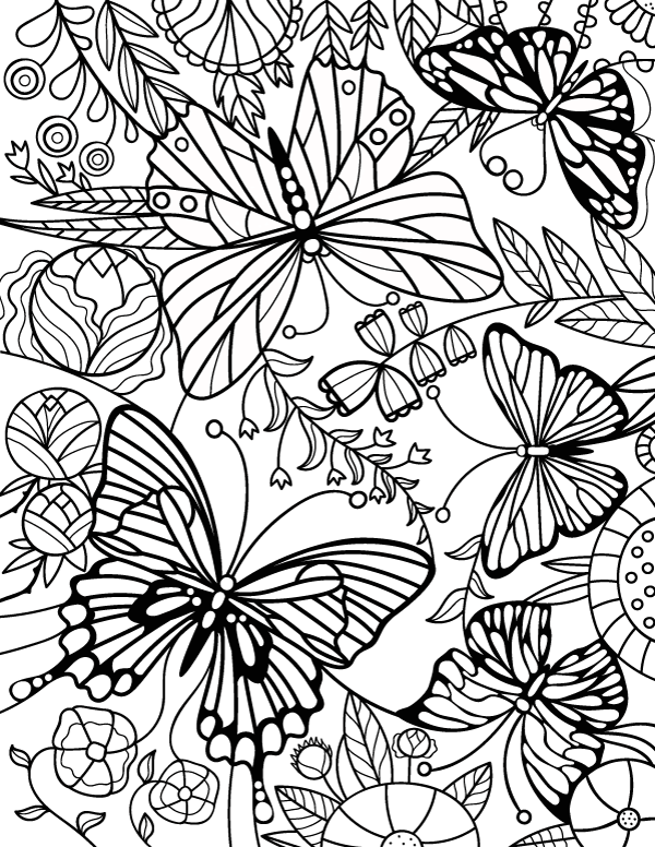 600x776 Stained Glass Butterfly Adult Coloring Page