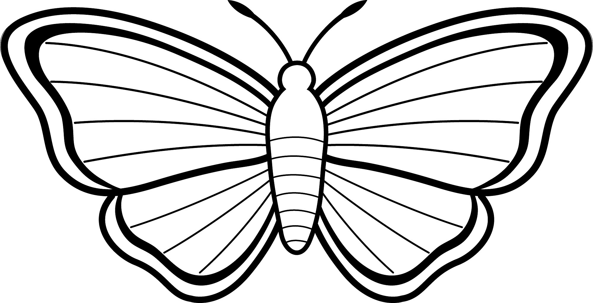 2000x1024 Printable Butterfly Coloring Pages