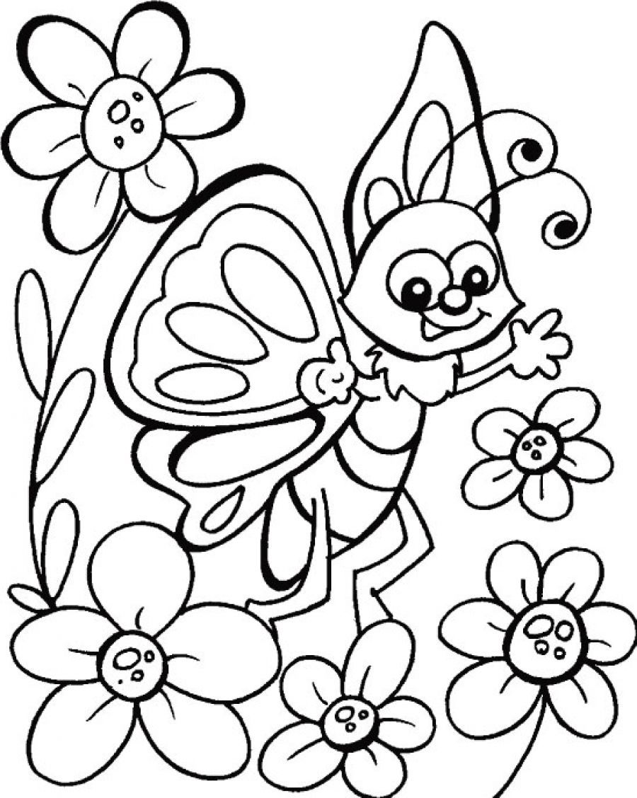 900x1128 Happy Butterfly Coloring Pages For Kids Coloring