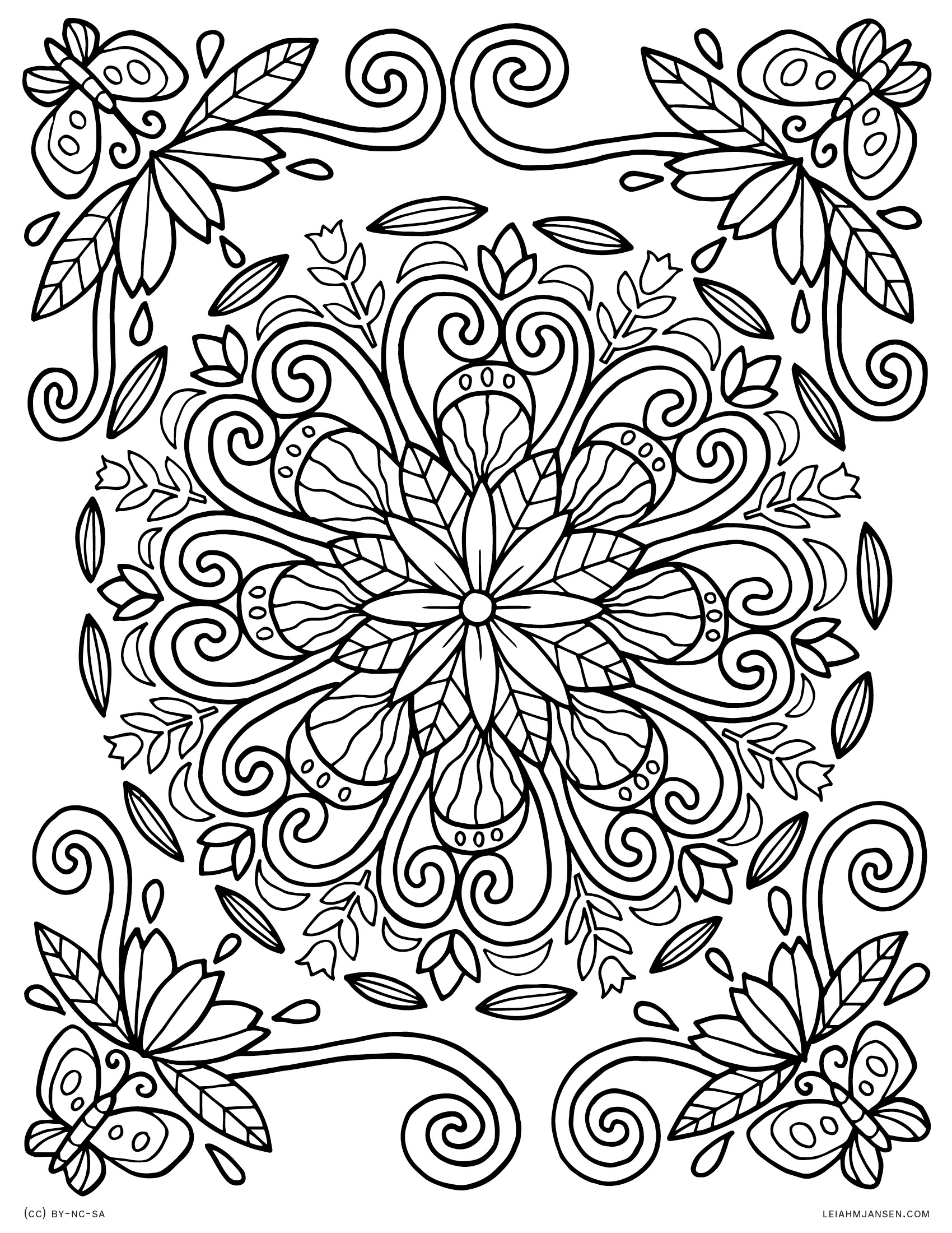 1700x2200 Butterfly Mandala Coloring Pages Printable Gallery
