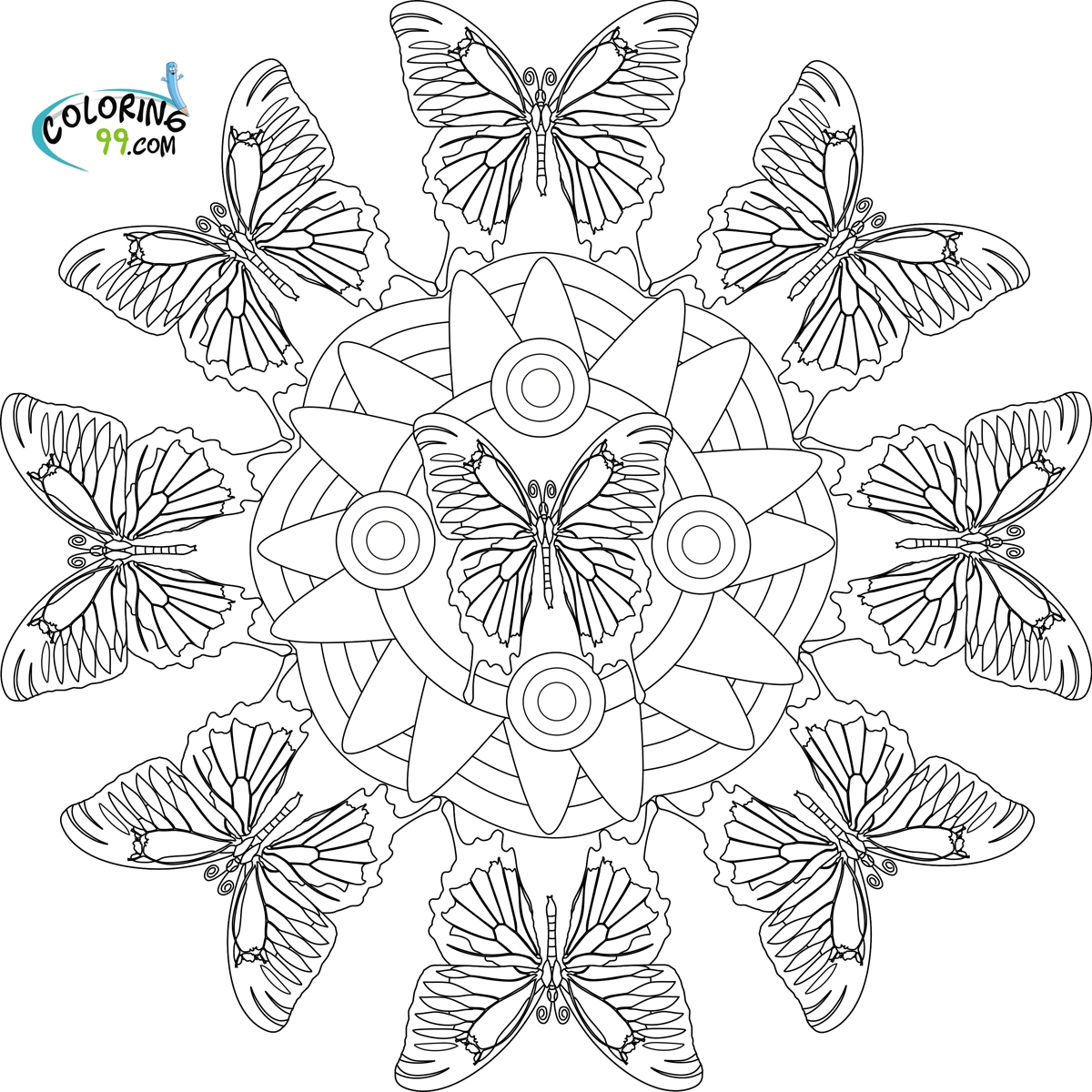 1200x1200 New Butterfly Mandala Coloring Pages Printable Gallery Free
