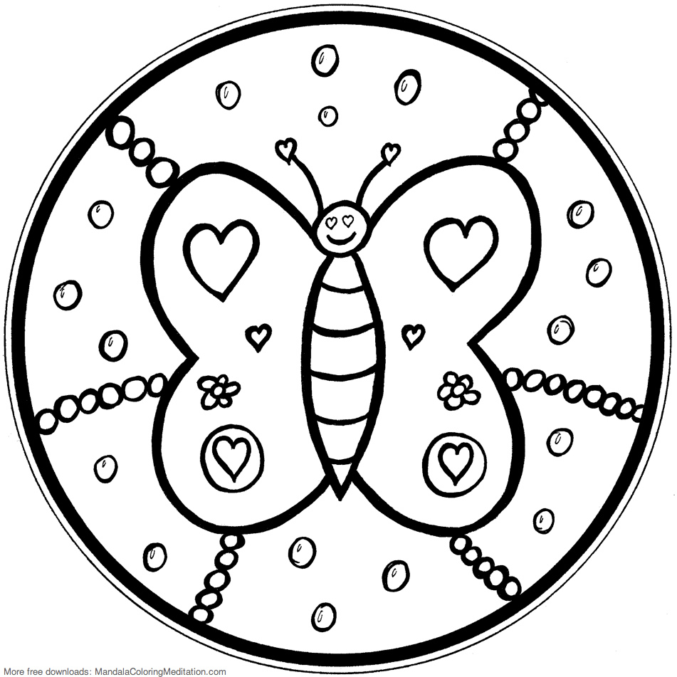 951x951 Printable Children Coloring Page Butterfly Mandala