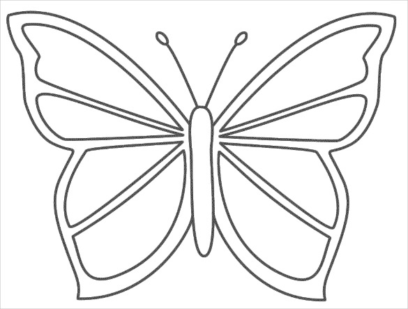 585x443 Outline Of A Butterfly Printable Butterfly Templates Printable