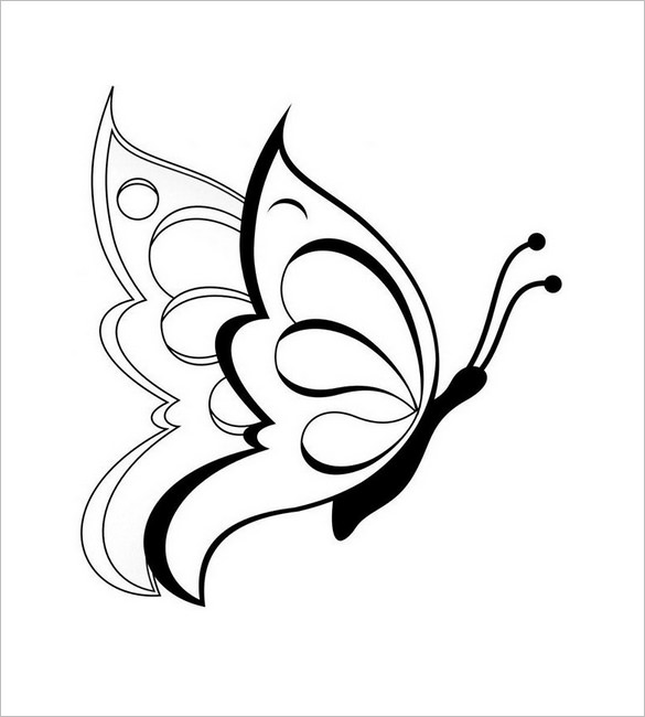 585x650 Butterfly Templates Printable Crafts Colouring Pages