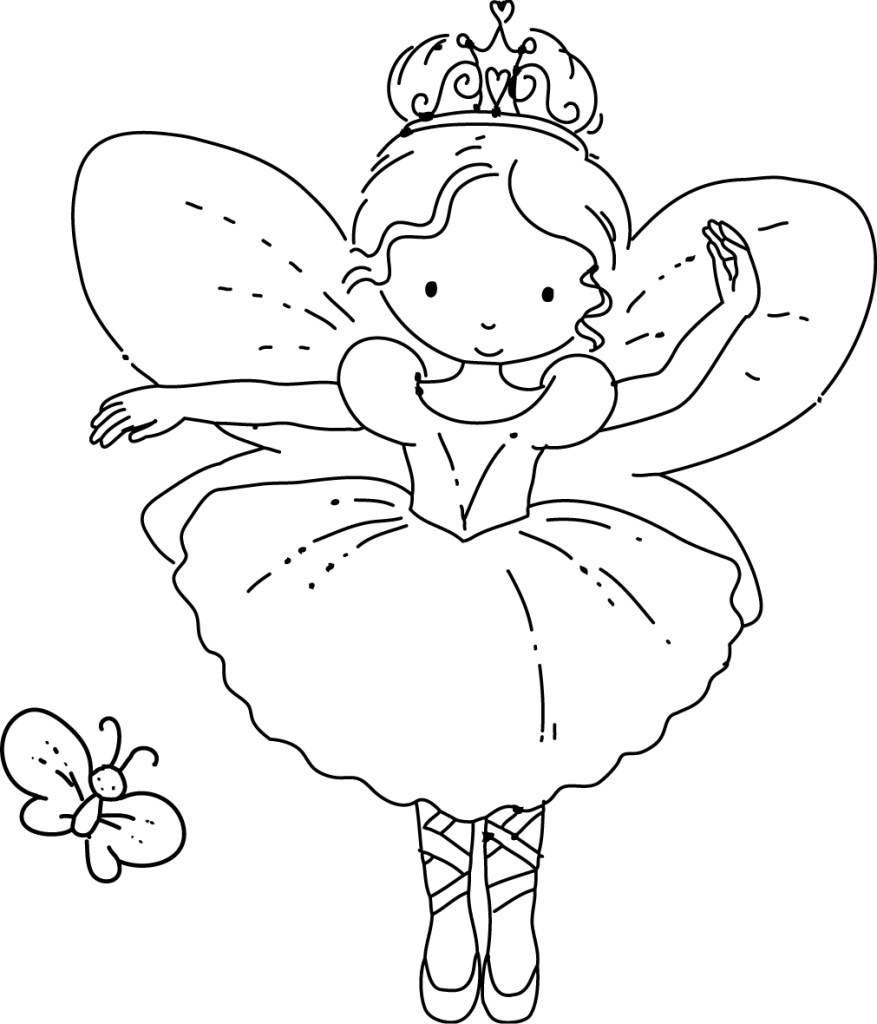 877x1024 fairy ballerina with butterfly hand embroidery or colouring page