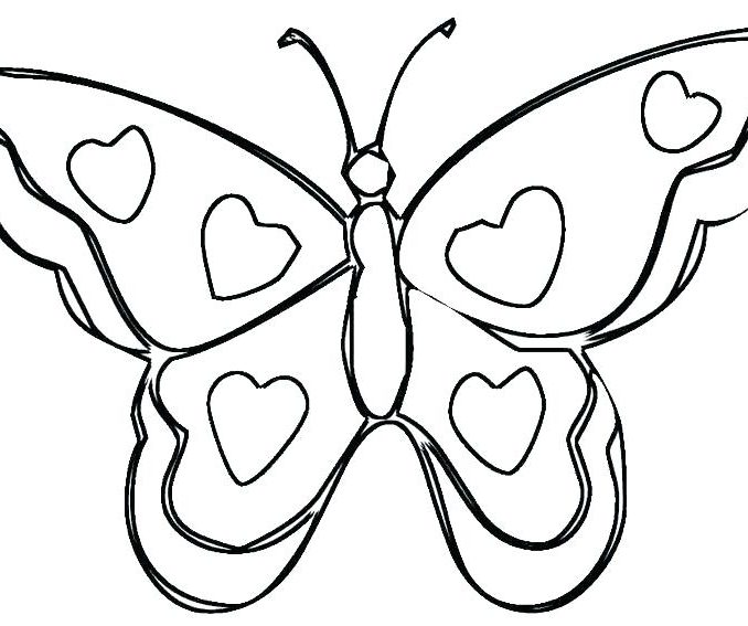 678x567 Hearts And Butterflies Coloring Pages Free Coloring Page