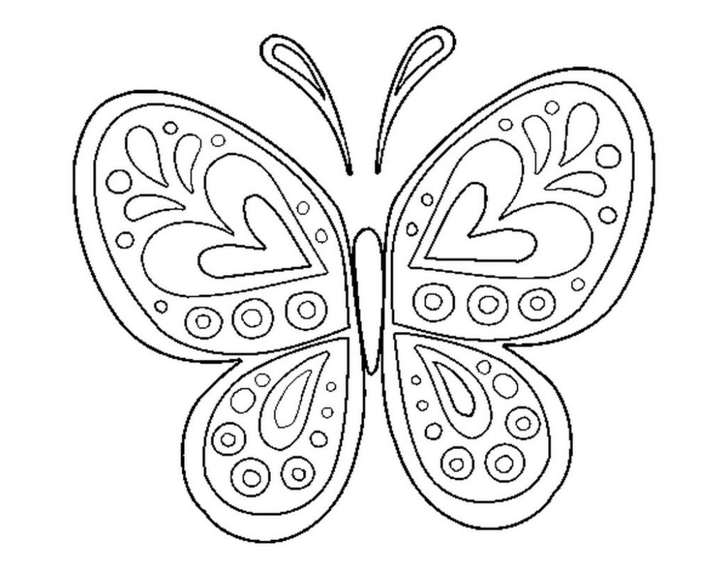 1024x802 Beautiful Butterfly Coloring Page In Colouring Pages Wings Free