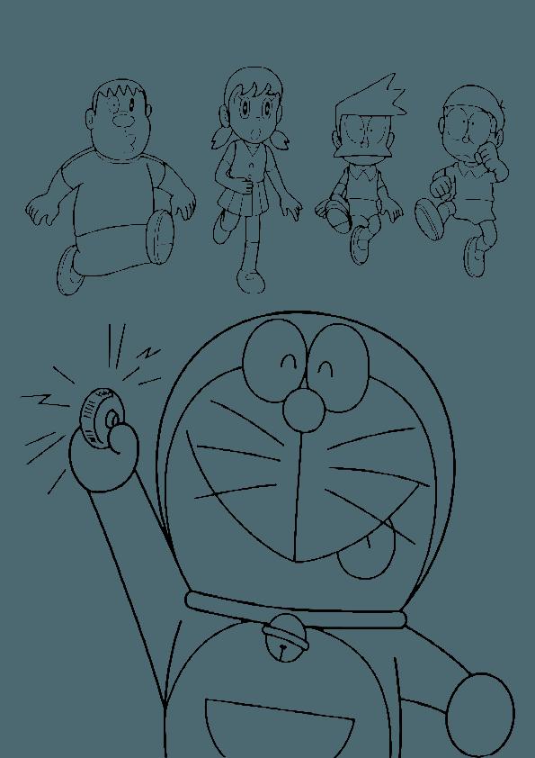 595x842 Doraemon Pressing Button Coloring Page Boys Pages
