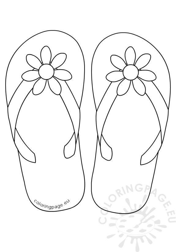 575x822 Flip Flop Coloring Pages Flip Flops Daisy Flower Button Coloring