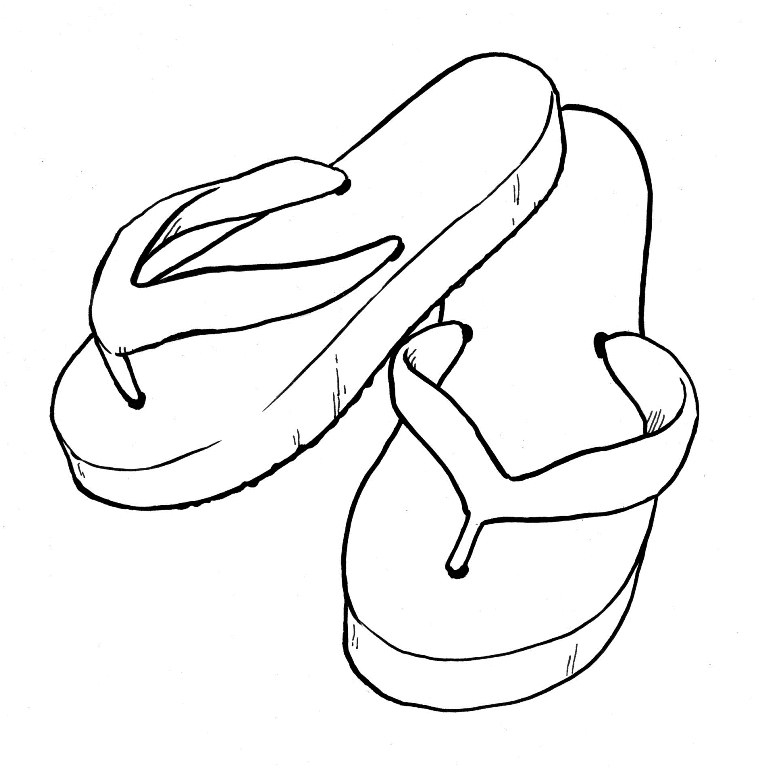 768x771 Flip Flops Daisy Flower Button Coloring Page And Flop Pages