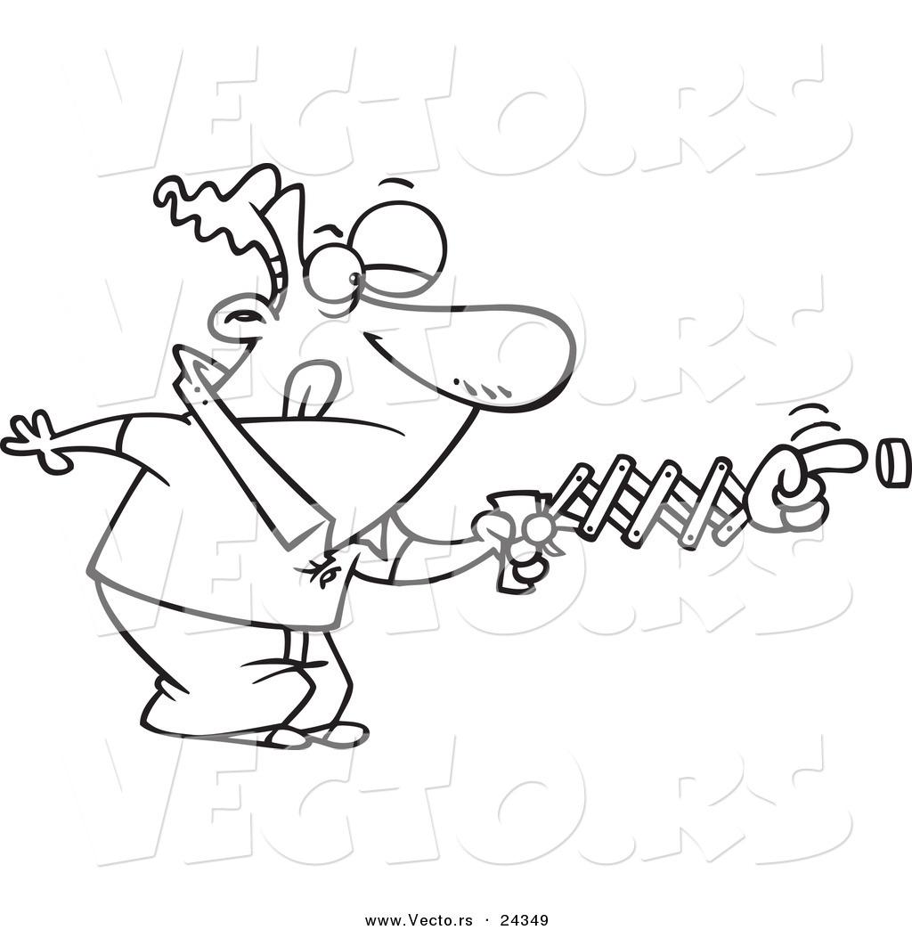 1024x1044 Vector Of A Cartoon Man Using A Spring Hand To Push A Button