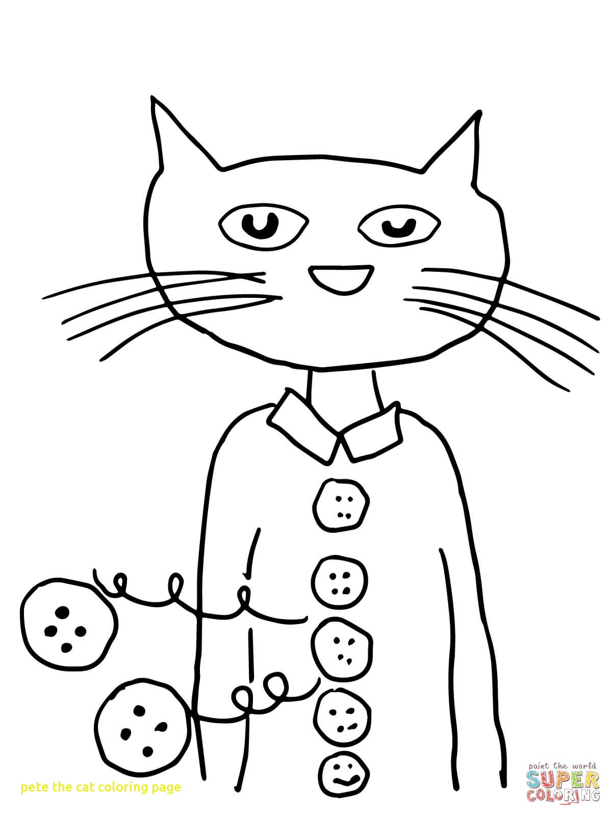 1200x1600 Pete The Cat Coloring Page With Pete The Cat Groovy Buttons
