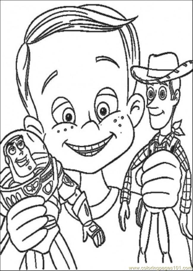 650x912 Andy Have Buzz Lighyear And Woody Sheriff Coloring Page