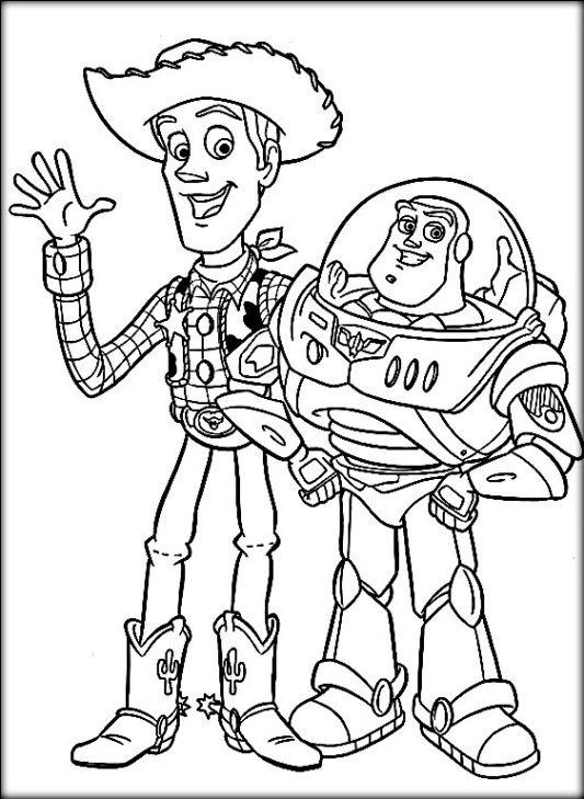 533x729 Disney Toy Story Coloring Pages Buzz Woody
