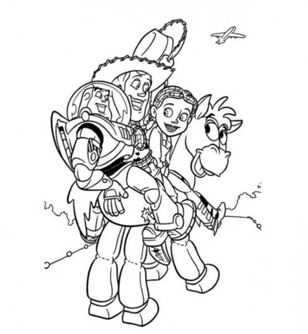 600x650 Buzz Jessie And Woody Riding Bullseye In Toy Story Coloring Page