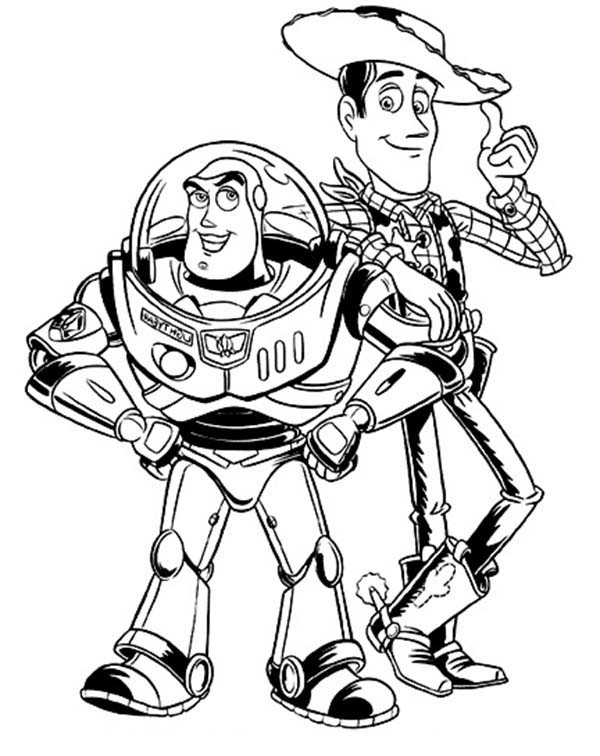 600x756 Buzz Lightyear And Woddy In Toy Story Coloring Page