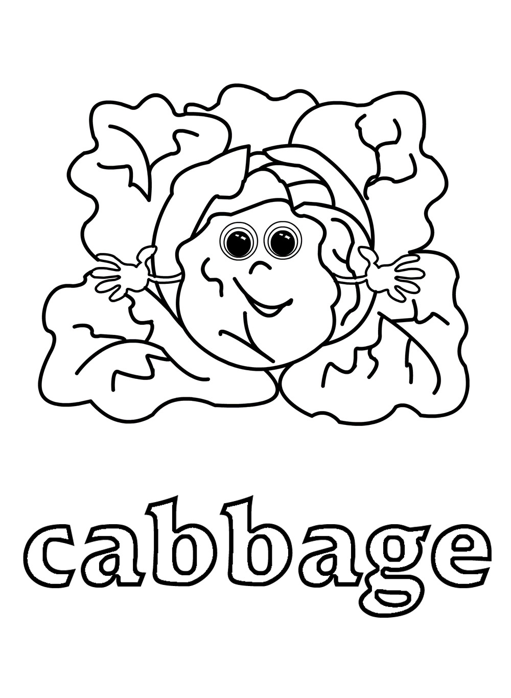 1000x1365 Cabbage Vegetable Cartoon For Coloring Book Vector Page Free Kids