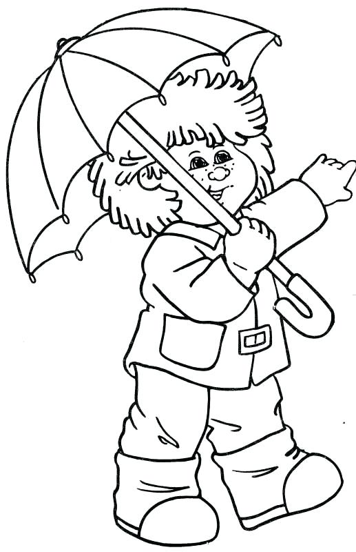517x800 Cabbage Patch Kids Coloring Pages Wearing Umbrella A Online