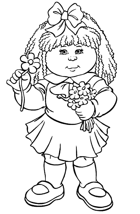 462x706 Cabbage Patch Kids Holding Flowers Cabbage Patch Kids Coloring