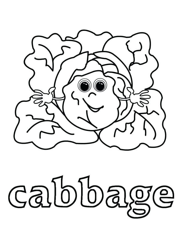 750x1024 Cabbage Patch Logo Coloring Pages Food Archives Vegetable Page
