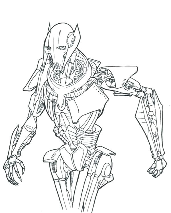 600x746 General Grievous Coloring Pages General Grievous Cad Bane Coloring