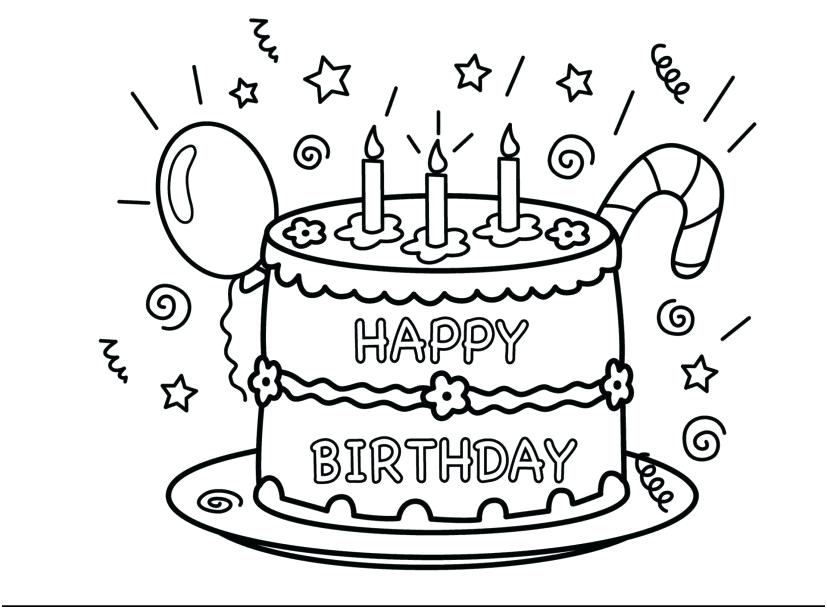 827x609 Birthday Color Page Outstanding Happy Birthday Cake Coloring Page