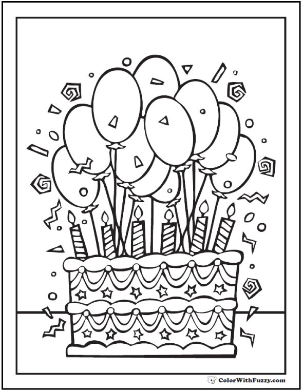 590x762 Birthday Coloring Pages To Print Birthday Cake Coloring Pages