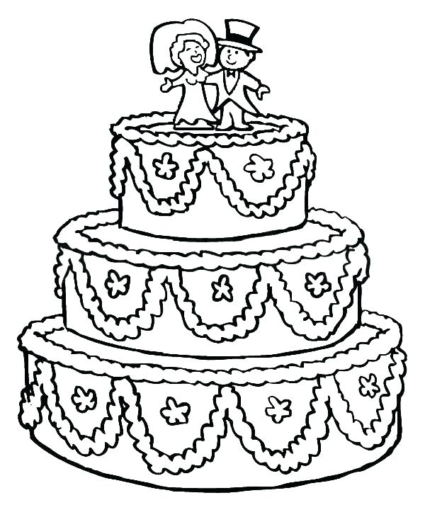 600x713 Coloring Pages Of Cakes Beautifully Decorated Wedding Cake