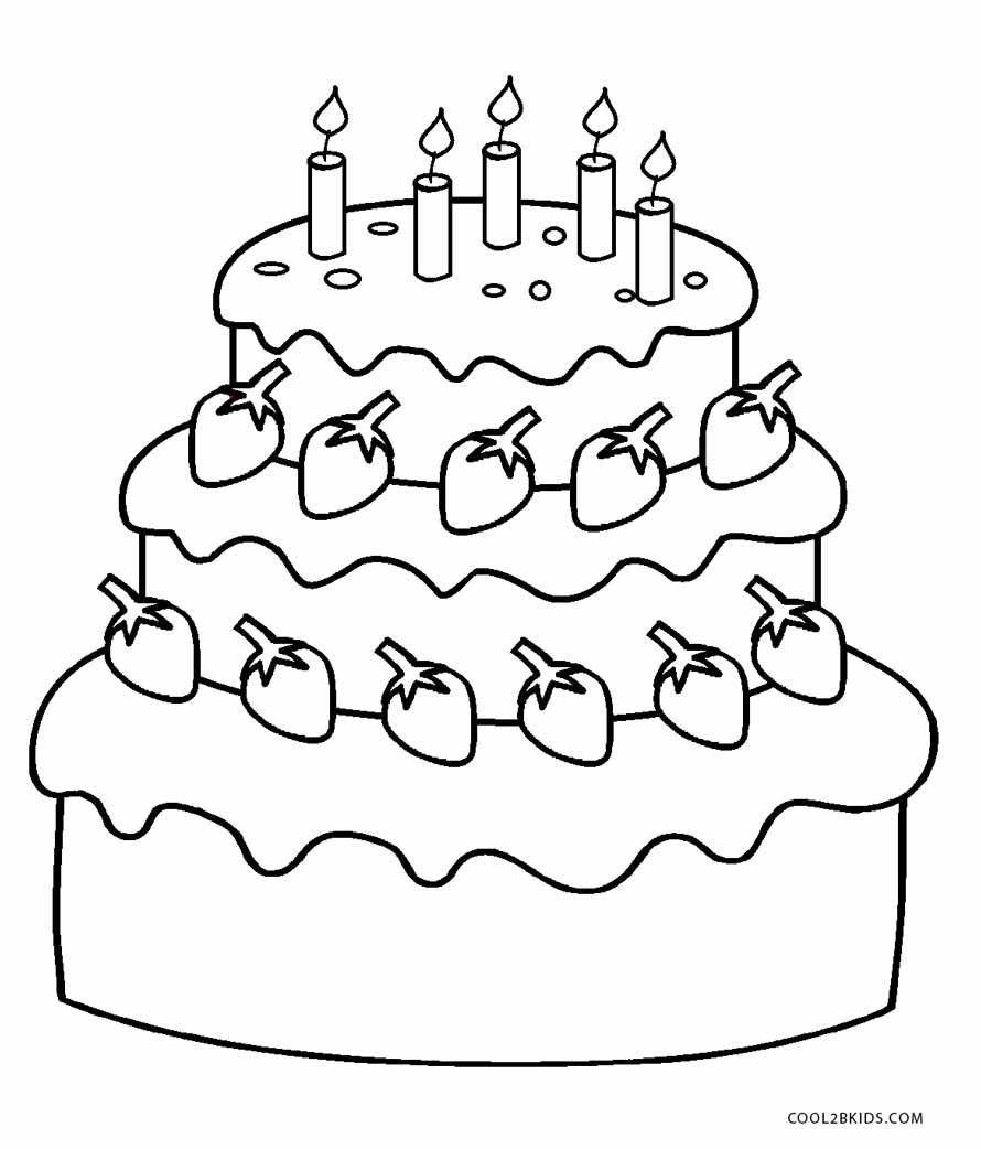 890x1042 Free Printable Birthday Cake Coloring Pages For Kids