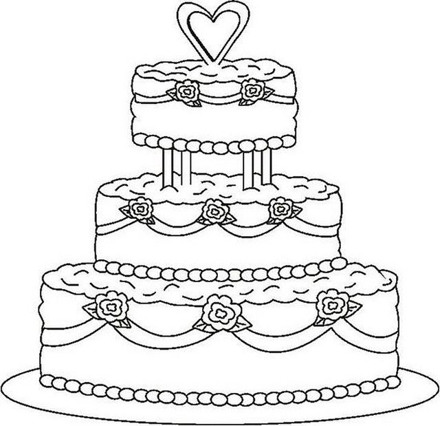 640x619 Wedding Cake Coloring Page Wedding Cake, Activities And Cake