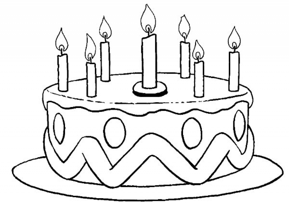 960x673 Birthday Cake Coloring Page