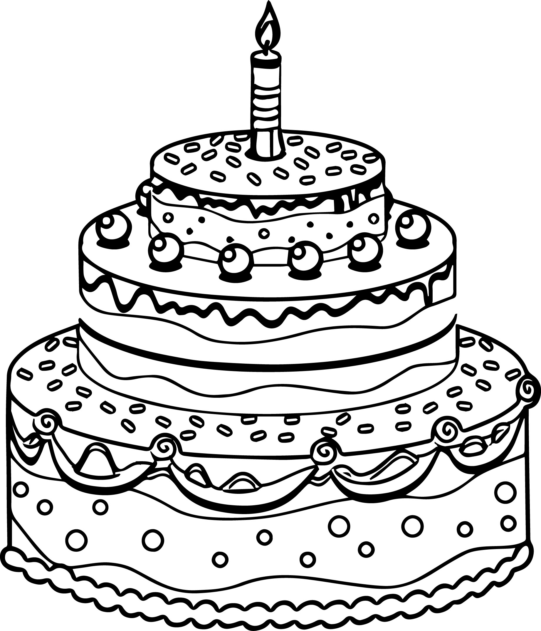 1842x2148 Birthday Cake Coloring Page