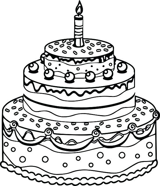 550x641 Birthday Cake Coloring Page Tiered Birthday Cake Coloring Pages