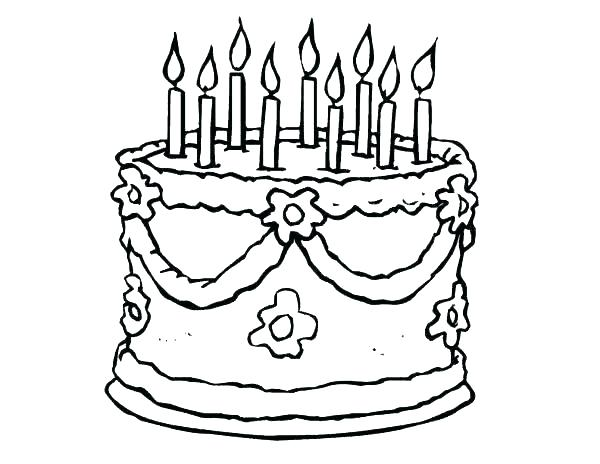 600x464 Birthday Cake Pictures To Color Free Coloring Pages Birthday Cake