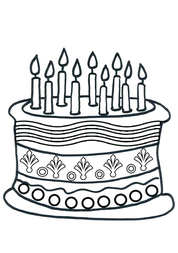 600x850 Cake Coloring Pages Cake Coloring Pages Birthday Cake Coloring