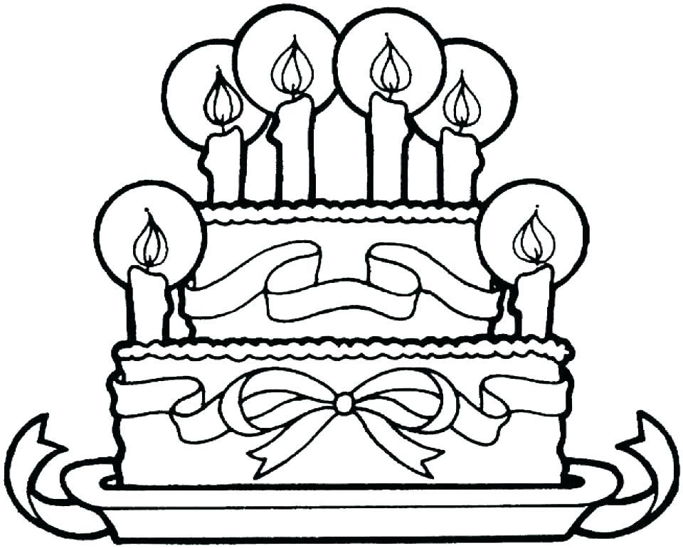 960x771 Coloring Page Birthday Cake Picture Of Birthday Cake Coloring