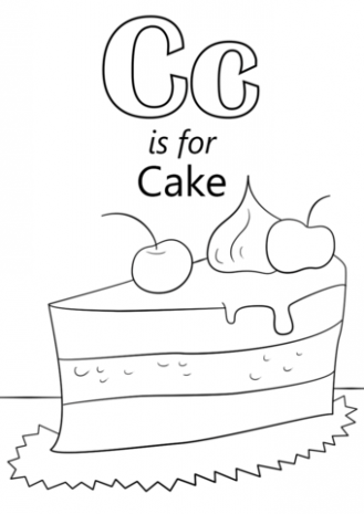 329x465 Letter C Is For Cake Coloring Page Free Printable Just Coloring
