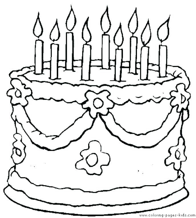 687x764 Birthday Cake Coloring Page Colouring