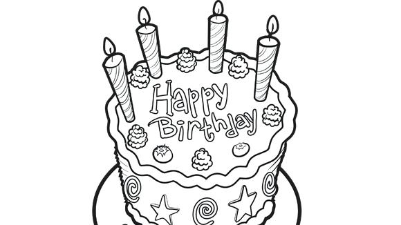 580x326 Birthday Cake Coloring Page